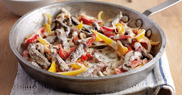 Philadelphia Recipe Pan Fried Beef With Mixed Peppers In A Philly Simply Stir Creamy Peppercorn