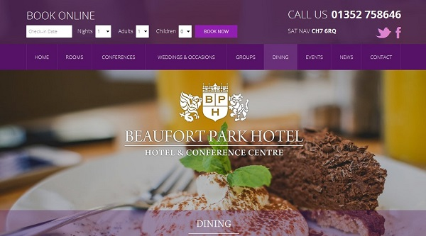 Customer-focussed website for the Beaufort Park Hotel