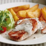 Philadelphia Recipe, Pork Steaks with Simply Stir Creamy Peppercorn Sauce