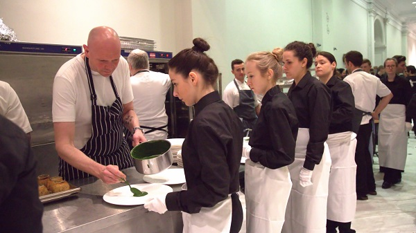 Farm Africa - waiters line up to be served by Tom  Kerridge