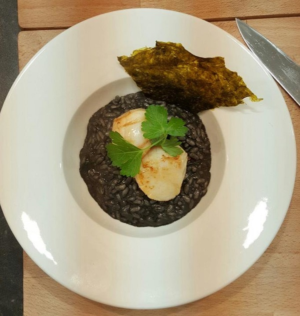 Squid ink risotto, seared scallops, nori seaweed crisp by Craig Floate ...