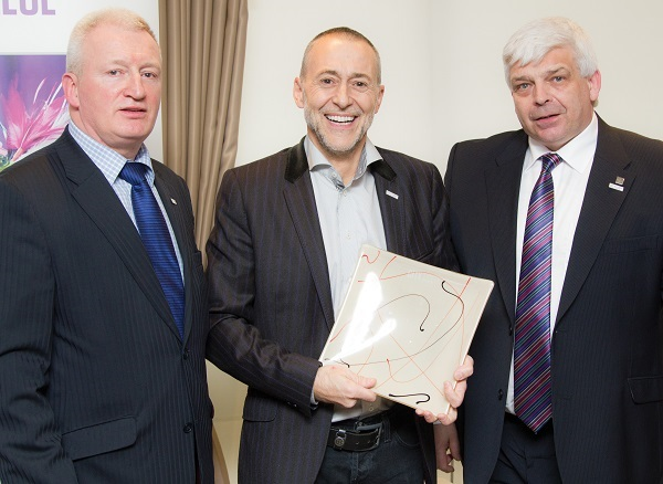 Michel Roux (centre) with Willie McCurrach (right) and college lecturer Gordon McIntyre