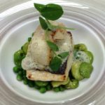 Line caught sea bass, pan fried scallops, broad beans and peas