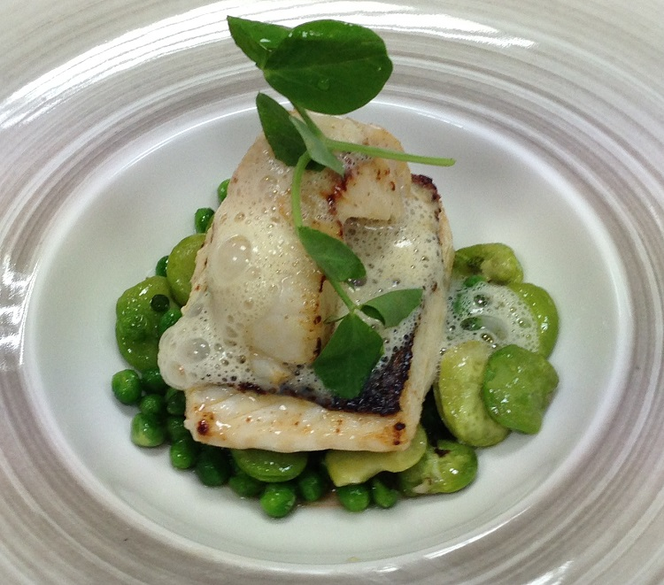 Line Caught Sea Bass Pan Fried Scallops Broad Beans And