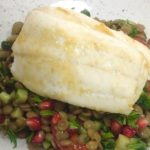 Recipe: Chef Hugh McGivern's Baked Plaice Fillets with Green Lentils & Pomegranate