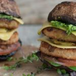 Vegetarian Foodservice Recipe: Braaied Mushroom and Fry's Chicken Burger with Basil, Rocket Pesto and Pineapple