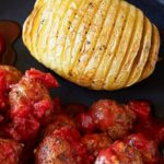 Vegetarian Foodservice Recipe: No-Meat Balls with Hasselback Potatoes