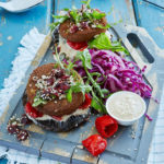 Vegetarian Foodservice Recipe: Falafel Burger on a Mushroom Base