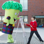 Broccoli Bill meets his creator, 11-year-old Ruairidh McKenzie at Clyde Primary School