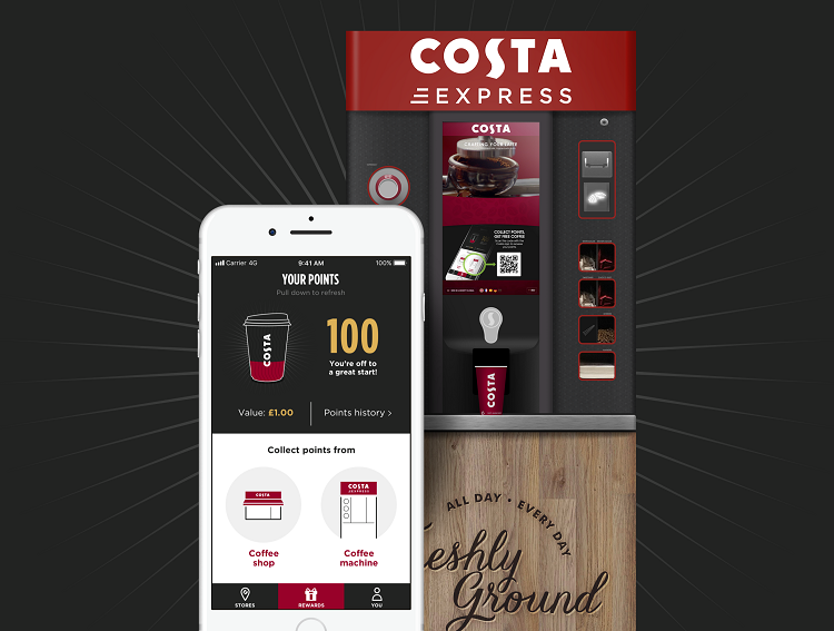 costa coffee club loyalty programme introduced to costa express machines 1.