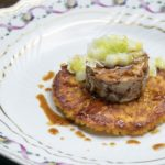 "Danilo Cortellini's Crispy saffron rice cake with leeks and braised ""ossobuco"""