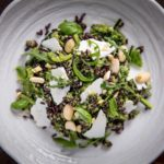 Danilo Cortellini's venere rice salad with courgette pesto, almond and shaved ricotta