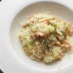 Fennel risotto with smoked salmon, Sicilian lemon and vodka, by Chef Paul Gayler MBE
