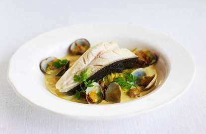 Poached Halibut, Clams and Leeks with a White Wine, Saffron and Philly ...